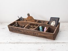 Antique Wooden Tool Carrier Primitive Divided Box by fallaloft, $82.95