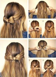 Gorgeous Hairstyles For Long Hair half up hair bows make such cute hairstyles for long hair!half up hair bows make such cute hairstyles for long hair! Short Hair Updo, Easy Hairstyles For Long Hair, Braids For Long Hair, Braided Hairstyles, Gorgeous Hairstyles, Hairstyle Ideas, Updo Hairstyle, Hair Bow Hairstyles, Short Hairstyles