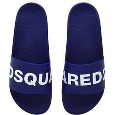 Dsquared2 Men Logo Rubber Slide Sandals ($205) ❤ liked on Polyvore featuring men's fashion, men's shoes, men's sandals, dsquared2 mens shoes, mens shoes, mens sandals and mens rubber shoes