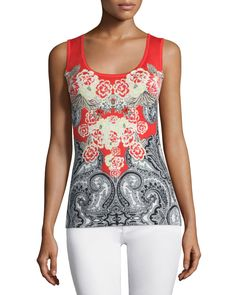 Floral & Paisley Printed Tank, Coral - Neiman Marcus Cashmere Collection