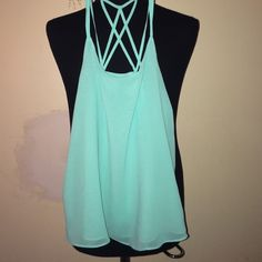 Blouse tank with multi strapped back Very comfortable green blouse. Great condition. Never worn. None Tops Blouses