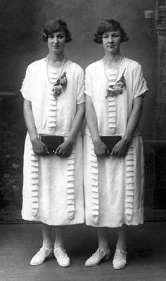 +~+~ Antique Photograph ~+~+   Truly identical twins!  Anna & Mary Oltman.  Circa 1925.