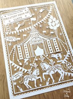 COMMERCIAL USE Circus Design - Papercutting Template to hand cut or machine cut