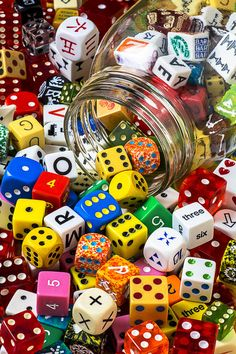 My honest to good-ness my idea of great! Fun galore awaits in searching through all the different dice. BRAVO!! ◄O:► Jar Of Colorful Dice Photograph by Gary Gay