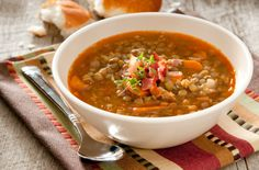 Lentil Soup - Lentil soup will keep you warm on winter nights, and costs just pennies to make. This version is very low in fat and packed with nutrition. #teambeachbody #healthyrecipes