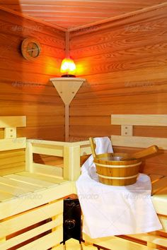 Modern sauna 2 ...  bathrobe, bucket, cabin, finnish, heated, hot, indoors, interior, lamp, modern, room, sauna, spa, steam, sweat, towel, vapour, wellbeing, wellness, wood, wooden