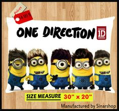 One Direction 1D Minions Pillow Case Cover Bedding 30 by Sinarshop, $14.99