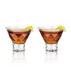 959d913374d Set of 2 Raye Gem Crystal Martini Glasses by Viski