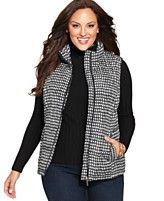 Charter Club Plus Size Houndstooth-Print Puffer Vest