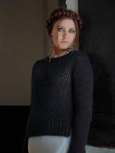 Knit this womens openwork sweater with side vents from Enchanted. A design by Ki