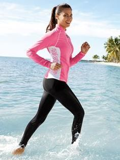 Enjoy lower body sun protection in the water without all the drag. Made of our special Solumbra II four-way stretch fabric, Water Legs are close fitting with a self-fabric elastic waistband and a comfortable cover-stitch hem at the ankle. Long Sleeve Gym Tops, Long Sleeve Crop Top, Sporty Outfits, Summer Outfits, Lularoe Kids Leggings Size, Sun Protective Clothing, Running Jacket, Active Wear, Sun Protection