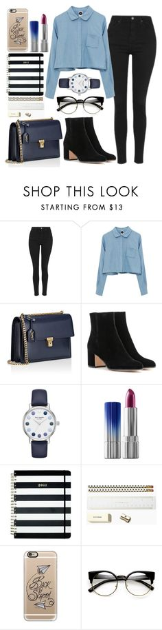 """back to school#3"" by mihai-theodora ❤ liked on Polyvore featuring Topshop, Yves Saint Laurent, Gianvito Rossi, Kate Spade, Estée Lauder, Casetify and ZeroUV"