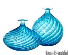 Murano glass vases by Seguso.