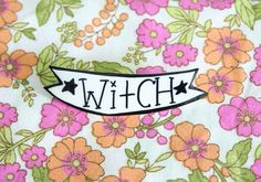 Witch Banner Brooch / Pin by ModernGirlBlitz on Etsy https://www.etsy.com/listing/150199762/witch-banner-brooch-pin