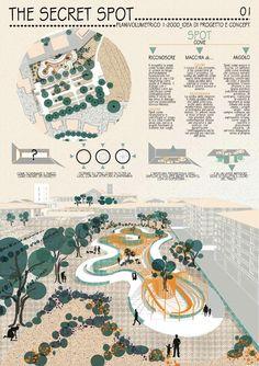 Landscape, Architecture, Garden Design, Public square. Competition for a public garden in the main square of Pomezia, Italy.