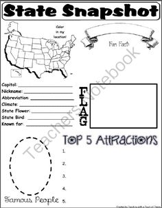 State Snapshot from Teaching with a Touch of Twang on TeachersNotebook.com (1 page)  - Great social studies activity for learning about the 50 states!