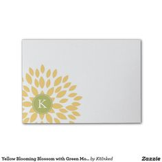 Yellow Blooming Blossom with Green Monogram Initial Post-it® Notes - Personalized Sticky Note Pad - http://www.zazzle.com/k8inked*  #flower #office #gift #stationery