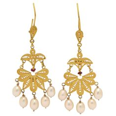 Classical High Carat Gold Dangle Earrings | From a unique collection of vintage dangle earrings at https://www.1stdibs.com/jewelry/earrings/dangle-earrings/