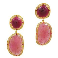 Sliced Pink Faceted Sapphire Diamond Earrings