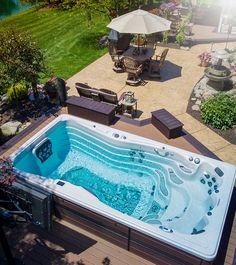 Looking to put a swim spa in your backyard? Check out these inspirational photos! Hot Tub Backyard, Swimming Pools Backyard, Swimming Pool Designs, Small Backyard Pools, Lap Pools, Indoor Pools, Pool Decks, Pool Landscaping, Diy Swimming Pool