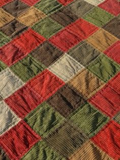 Pure Country; and all of the weight; and quality; you expect from Woolrich! Stunning Grandma squares vintage Earth Tones; Autumn Splendor Quilt! HUGE! Going for a song; on Ebay now!! Don't miss out! This is gorgeous! From our camera in Texas; becomes an instant heirloom treasure, for you!