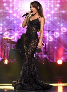 Awesome lace black dress long dress/gown red carpet (yeah it's Ariana grande sue me)