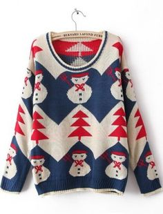 Blue Long Sleeve Snowman Embroidery Pullovers Sweater #SheInside