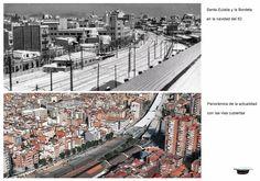 Santa Eulalia y la Bordeta en navidad del 62. Panorámica de la actualidad con las vías cubiertas. (2)