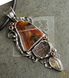 Agate pendant one of a kind sterling silver by Elemental Jewelry Co, $250.00