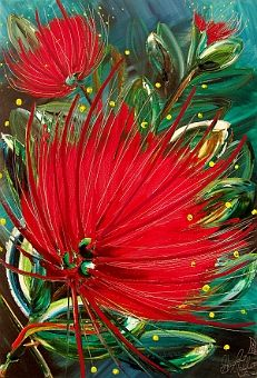 Shona Moller - Paintings Tainui Pohutukawa x oil on canvas sold Nz Art, Art For Art Sake, Painting Inspiration, Art Inspo, Maori Symbols, New Zealand Art, Acrylic Painting Flowers, Kiwiana, Christmas Paintings