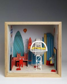 What happens when you ask a group of contemporary British designers to create their dream rooms in miniature? Dream Rooms, Dream Bedroom, Shadow Box Picture Frames, Museum Of Childhood, Wood Peg Dolls, Miniature Rooms, Victoria And Albert Museum, Elle Decor, Home Art