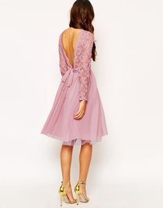 Enlarge John Zack Petite Lace Skater Dress With Tulle Skirt And Plunge Back