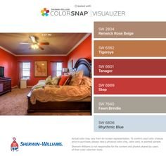 I found these colors with ColorSnap® Visualizer for iPhone by Sherwin-Williams: Renwick Rose Beige (SW 2804), Tigereye (SW 6362), Tanager (SW 6601), Stop (SW 6869), Fawn Brindle (SW 7640), Rhythmic Blue (SW 6806).