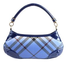 """Burberry hobo bag in blue """"plaid"""" pattern."""