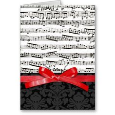 Music Notes And Faux Red Ribbon Musical Birthday CardsMusical