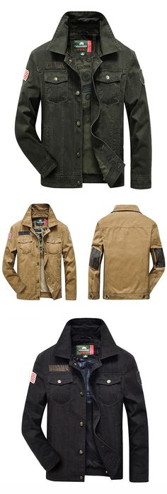 US$55.19 (48% OFF) Mens Fall& Winter Outdoor Outfit: Breasted Turndown Collar Casual Cotton Jacket Coat