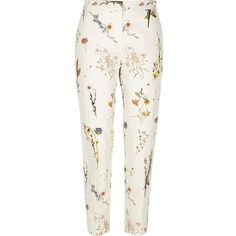 River Island White floral print slim pants ($70) ❤ liked on Polyvore featuring pants, cigarette pants, white, women, high-waisted pants, tall pants, slim pants and patterned pants