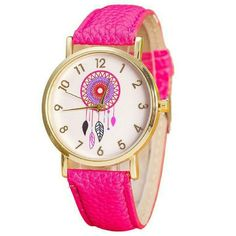 Dreamcatcher Leather Quartz Dress Wrist Watch Dreamcatcher Leather Quartz Dress WristWatch  Movement: Quartz Materials: PU Leather + Alloy Case Size: 38mm x 38mm Case Thickness: 8mm Band Width: 18mm Band Length: 23cm Jewelry