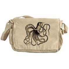 Black and White Vintage Octopus Messenger Bag