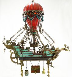 """Nimbus"" flying machine balloon ship by Assemblique™. ©2013, www.assemblique.com"