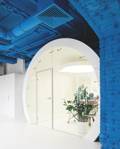 Two colors, blue and white, and two geometric shapes, the circle and the square, give a crisply dual identity to Optimedia's Moscow headquarters by Nefa Architects. : Ilya Ivanov. #architecture #interiors #design #interiordesign #office #russia... - Interior Design Ideas, Interior Decor and Designs, Home Design Inspiration, Room Design Ideas, Interior Decorating, Furniture And Accessories