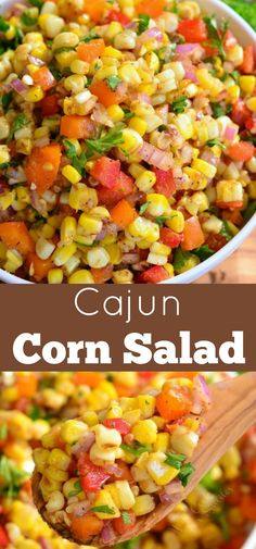 A TASTY side dish to serve at your next BBQ party. This sweet … Cajun Corn Salad. A TASTY side dish to serve at your next BBQ party. This sweet and spicy corn salad recipe will be your next HIT. Side Dishes For Bbq, Healthy Side Dishes, Vegetable Side Dishes, Side Dish Recipes, Burger Side Dishes, Corn Side Dishes, Brisket Side Dishes, Bbq Recipes Sides, Party Side Dishes