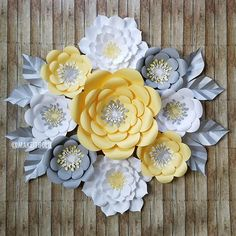 Paper Flower Set, Paper Flower Backdrop, Gender Neutral Nursery, Gender Reveal Decor, Yellow & Grey Nursery, Unicorn Decor, Bee Baby Shower