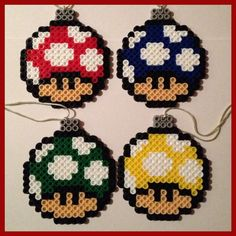 Mario Mushroom Christmas Ball Ornaments perler beads  by K8BitHero