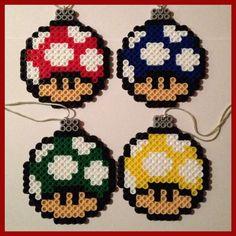 Mario Mushroom Christmas Ball Ornaments perler beads  by K8BitHero