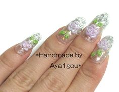 3D nails rose glitter tips long hime gyaru by Aya1gou on Etsy, $20.00