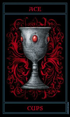 Ace of Cups from The Gothic Tarot by Joseph Vargo Ace Card, Gothic Artwork, Le Tarot, Beautiful Dark Art, Sugar Skull Art, Online Tarot, Tarot Readers, Oracle Cards, Dragon Art