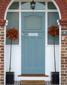 Art Deco style front door with a distinctively colourful stained glass design that typified the style of the period – completed with brass door furniture Front Door Porch, Grey Front Doors, Porch Doors, House Front Door, Painted Front Doors, Front Door Colors, House Doors, Entry Doors, Glass Panel Door