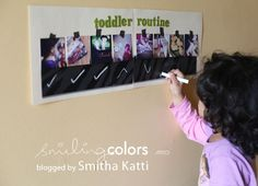 {toddler routine chart} - Smiling Colors, blogged by Smitha Katti