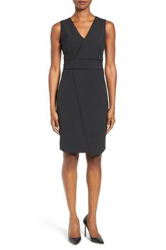 Dolce Asymmetric Pinstripe Front Sheath Dress by T Tahari on @nordstrom_rack